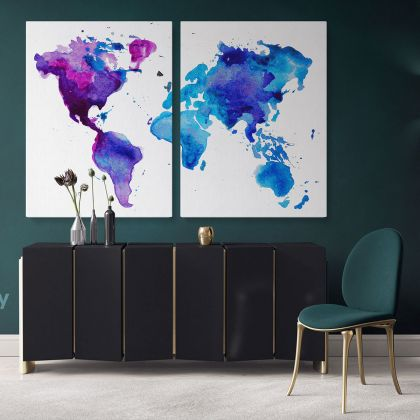 Bright Water Color World Map Canvas Print Large Colorful World Map Playroom Wall Map For Wall Art Decor