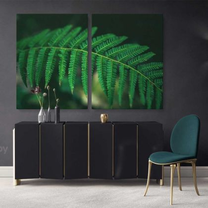 Canvas for Living Room, Tropical Leaves, Wall Hangings, Green Leaves, Wall Art, Tropical Canvas with Frame, for Bedroom, Office