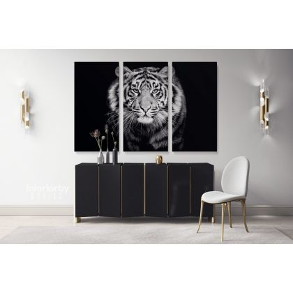 Tiger Large Black and White Photography Canvas Print Poster Love Wall Arts Housewarming Gift Wild Animals Photo Wall Mural Hanging