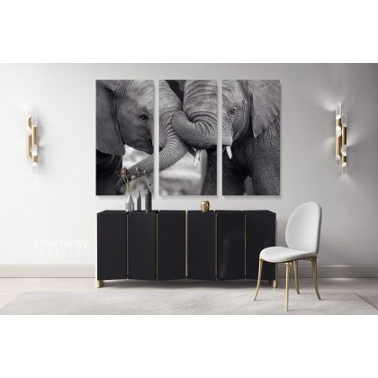 Black and White Elephants Photography Canvas Print Poster Love Wall Art Housewarming Gift Wild Animals Photo Wall Mural Hangings