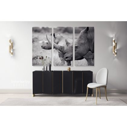 Rhinoceros Black and White Photography Canvas Print Poster Love Wall Art Housewarming Gift Wild Animals Photo Wall Mural Hanging