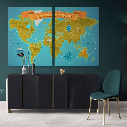 Take A Trip Kids World Tour Map Nursery Map Canvas Colorful Map Decor For Large World Map