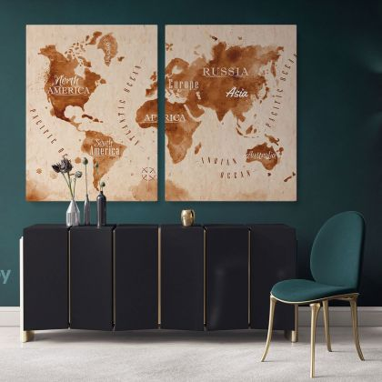 Kids World Map Nursery Map Canvas Colorful Map Decor For Large World Map