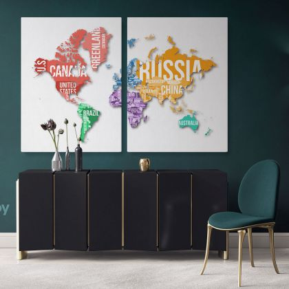 World Map With Borders And Country Names With White Background World Map Wall Art World Map Canvas Large Map Canvas With Frame For Home Decor
