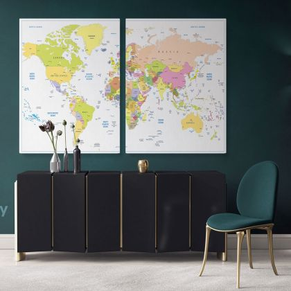 Colored political World Map isolated With White Background World Map Wall Art World Map Canvas Large Map Canvas With Frame For Home Decor