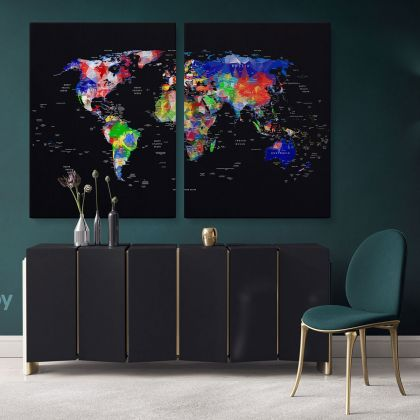 Geometric Design World Map With Country And City Names World Map Wall Art World Map Canvas Large World Map Canvas With Frame For Home Decor