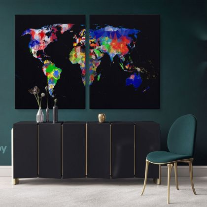 Geometric Design World Map World Map Wall Art World Map Canvas Large World Map Canvas With Frame Living Room For Home Decor