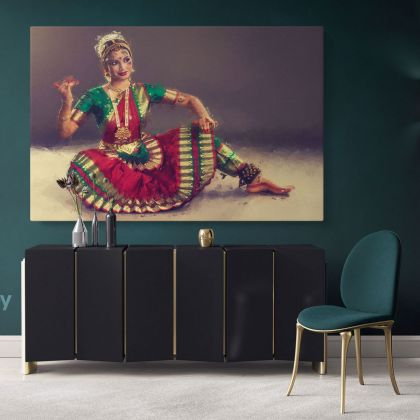 ArtzFolio Indian Classical Dance Bharatanatyam Canvas with Frame Wall Art Print Canvas Painting Modern Wall Hangings Art Mural