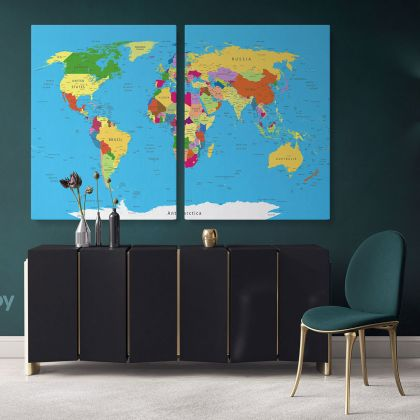 Highly Detailed Political World Map With Globes Wall Art World Map Canvas Large Canvas World Atlas Wall Artwork Print For Canvas Wall Hangings