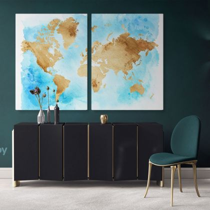 Blue with Brown Large World Map Canvas Nursery Playroom WallMap Canvas Wall Art Canvas Gift Office Living Room Wall Home Decor For Wall Hangings