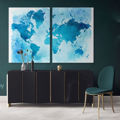 Blue Water Color Large World Map Canvas Nursery Playroom Wall Map Wall Art Canvas Gift Office Living Room Wall Home Decor For Wall Hangings