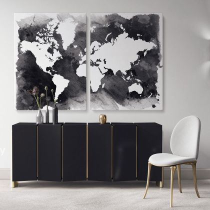 Black With White Water Color World Map Large Canvas Nursery Playroom Wall Art Gift Office Living Room Wall Home Decor For Wall Hangings