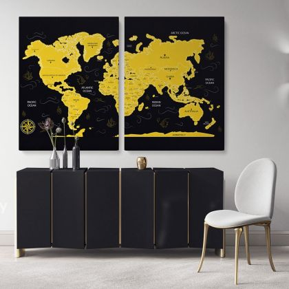 Modern Black With Yellow World Map Large Canvas Nursery Playroom Wall Art Gift Office Living Room Wall Home Decor For Wall Hangings