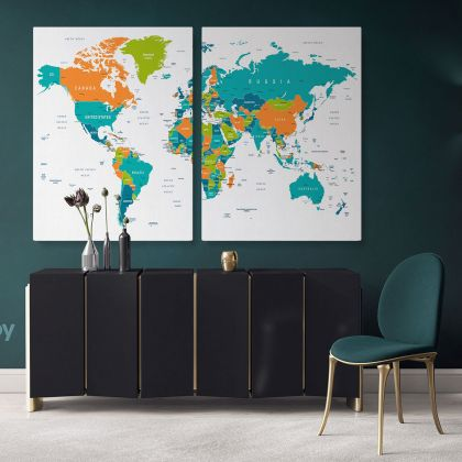 Colored Political World Map With White Background World Map Wall Art World Map Large Map Canvas With Frame Home Decor Gift For Wall Hangings