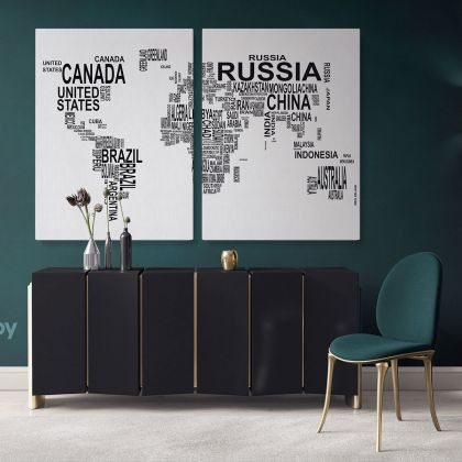 Typographic Text World Map World map wall art World Map Canvas Large World Map Canvas with Frame Home Gift Office Living Room For Wall Art Decor