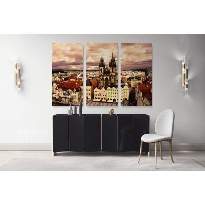 Prague Canvas with Frame Wall Art Photo Czech Republic Print Poster Skyline Wall Hangings Artwork Home Decor Bedroom Living Room Mural Gift