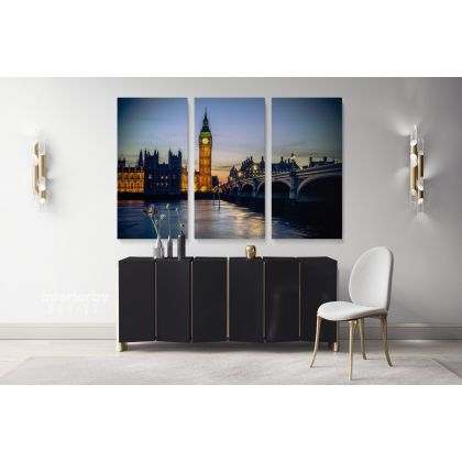 Beautiful London City Landscape Big Ben Clock Tower Canvas with Frame Wall Artwork Print Poster Home Decor Living Room Bedroom Mural Gift