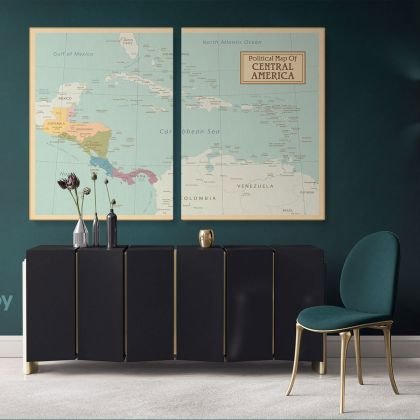 Political Map of Central America Giant World Map Atlas Geography Political Print In Different Sizes Bedroom Living Room Home Gift For Mural Map