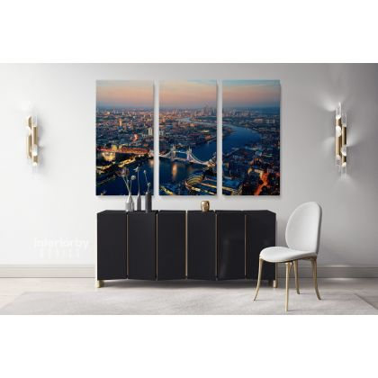 London City Skyline at Dawn Landscape Tower Bridge Big Ben Westminster Canvas with Frame Wall Art Print Home Decor Living Bedroom Mural Gift