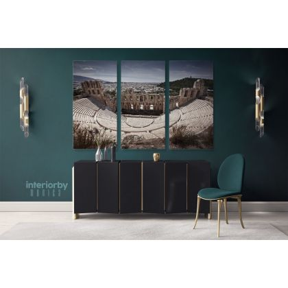 Odeon of Herodes Atticus at the Acropolis Athens Greece Landscape Canvas with Frame Wall Artwork Print Home Decor Living Bedroom Mural Gift