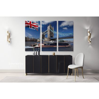 British Flag motor ship Tower Bridge London City Landscape Canvas with Frame Wall Hangings Print Home Decor Living Room Bedroom Mural Gift