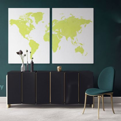 Modern Green Water Color World Map Canvas Print Large Colorful Playroom Wall Map Wall Art Decor For Home
