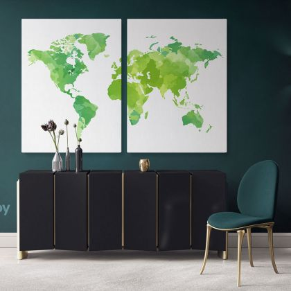Modern Bright Green Water Colorfull World Map Canvas Print Large Colorful Playroom Wall Art Decor For Home