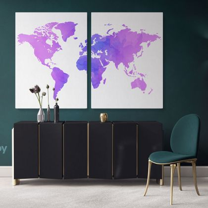 Modern Bright Purple Water Colorfull World Map Canvas Print Large Colorful Playroom Wall Art Decor For Home