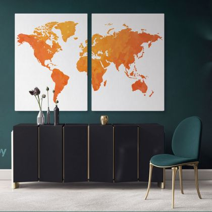 Modern Bright Orange Water Colorfull World Map Canvas Print Large Colorful Kids Playroom Wall Art Decor For Home