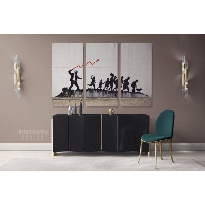 Banksy Street Arts Urban Modern Art Print in Canvas with Frame / Roll Modern Print Poster Abstract Mural Gift Wall Art Hangings