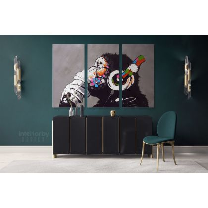 Large Banksy DJ Monkey Gorilla Chimp Canvas Wall Art Canvas with Frame Print Poster Home DÌÄå©cor
