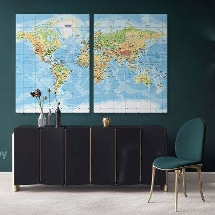 Highly Detailed Political World Map Canvas Giant Blue Ocean Map Wall Canvas With Frame For Home Decor