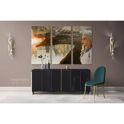 Emilia Clarke Game of Thrones Dragon Movie Art Canvas with Frame / Rolled Gaming Zone Home Decor Wall Art Mural Hangings Gift Print Poster