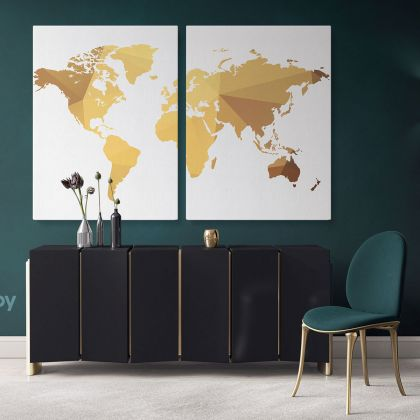 Abstract Large World Map Canvas Print Bright Colors Wall Art Office Decor Modern Wall Canvas Gift Print Wall Artwork Canvas Home for Wall Mural