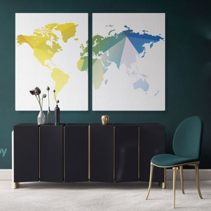 Abstract Large World Map Canvas Print Bright Different Colors Wall Art Office Decor Modern Canvas Gift Print Wall Artwork For Home Wall Mural