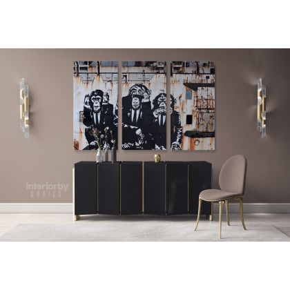 Three Monkey Banksy Canvas Graffiti Street Arts Print in Canvas with Frame