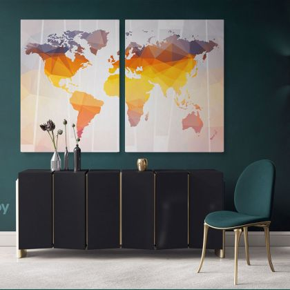 Modern Wall Map Canvas With Frame Large World Map Canvas Nursery Wall Art Gift Office Living Room Wall Home Decor For Wall Hangings