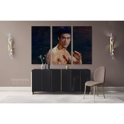Bruce Lee Poster Martial Art Dragons Canvas with Framed Home Decoration Wall Mural Hangings Gift Wall Artwork Bruce Lee Print Poster Canvas