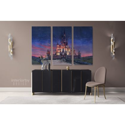 Painting Gouache Disney Castle, Jessy Roig Painting Wall Art Print Poster Canvas with Frame Artwork Picture Home Wall Hangings Mural Gifts