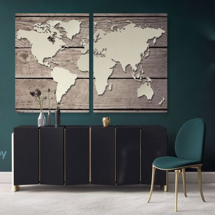 Vintage Wall Map Canvas With Frame Large Wood Background Nursery Wall Art Gift Office Living Room Wall Home Decor For Wall Hangings