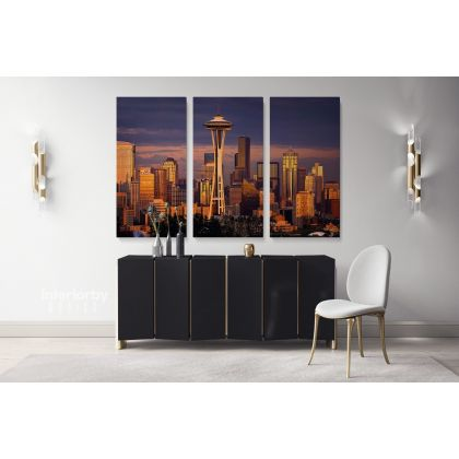 Seattle Skyline Print Photo Poster Banner Canvas with Frame or Rolled Canvas Home Decoration Living Room Bedroom Wall Hangings Mural Gifts