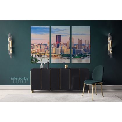 Pittsburgh Wall Art Canvas Pittsburgh City at Dusk Sunset Print Poster Home Decoration Living Room Wall Mural Hangings Gift Artwork Canvas