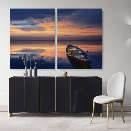 Boat Scenery Photo Print Poster on Canvas with Frame or Rolled Canvas ation Wall Mural Hanging Gifts Bedroom Marine Canvas