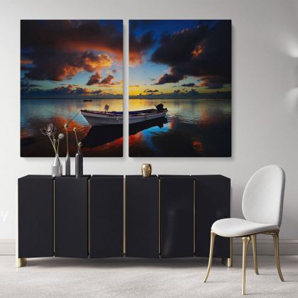 Boat Scenery Photo Print Poster on Canvas with Frame or Rolled Canvas ation Wall Mural Hangings Gifts Bedroom Marine Canvas