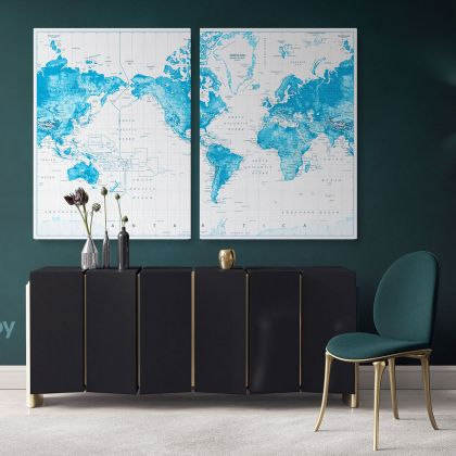 Official Political World Map Canvas Highly Detailed World Atlas Time Zone Map Wall Mural Artwork Print For Wall Hanging