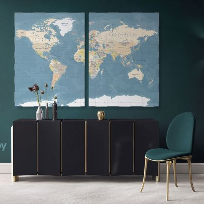 Official Giant World Map Atlas Geography Political Canvas Print In Different Sizes Artwork Bedroom Living Room Canvas For Home Gift Map Mural