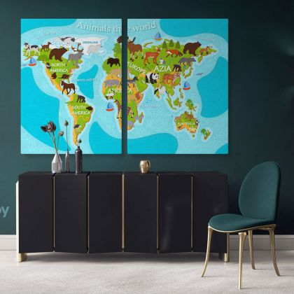 Kids Nursery Animal Maps World Animals Canvas Gift Office Living Room Home Decor For Wall Hanging