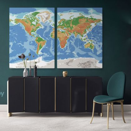 Modern Water Color World Map Canvas Print Large Colorful World Map Playroom Wall Map Wall Art Decor For Home