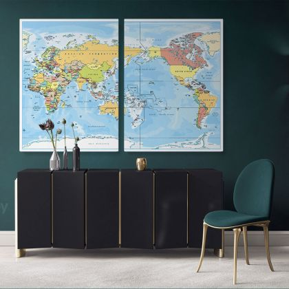 Official Detailed Political World Map Canvas Giant Blue Ocean Map with Different Size For Home Decor