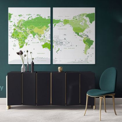 Modern Official World Map Atlas Geography Political Green Canvas Print In Different Sizes Bedroom Living Room Art For Home Decor